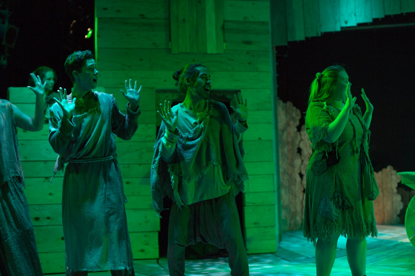 Students perform in drama's production of Spamalot.