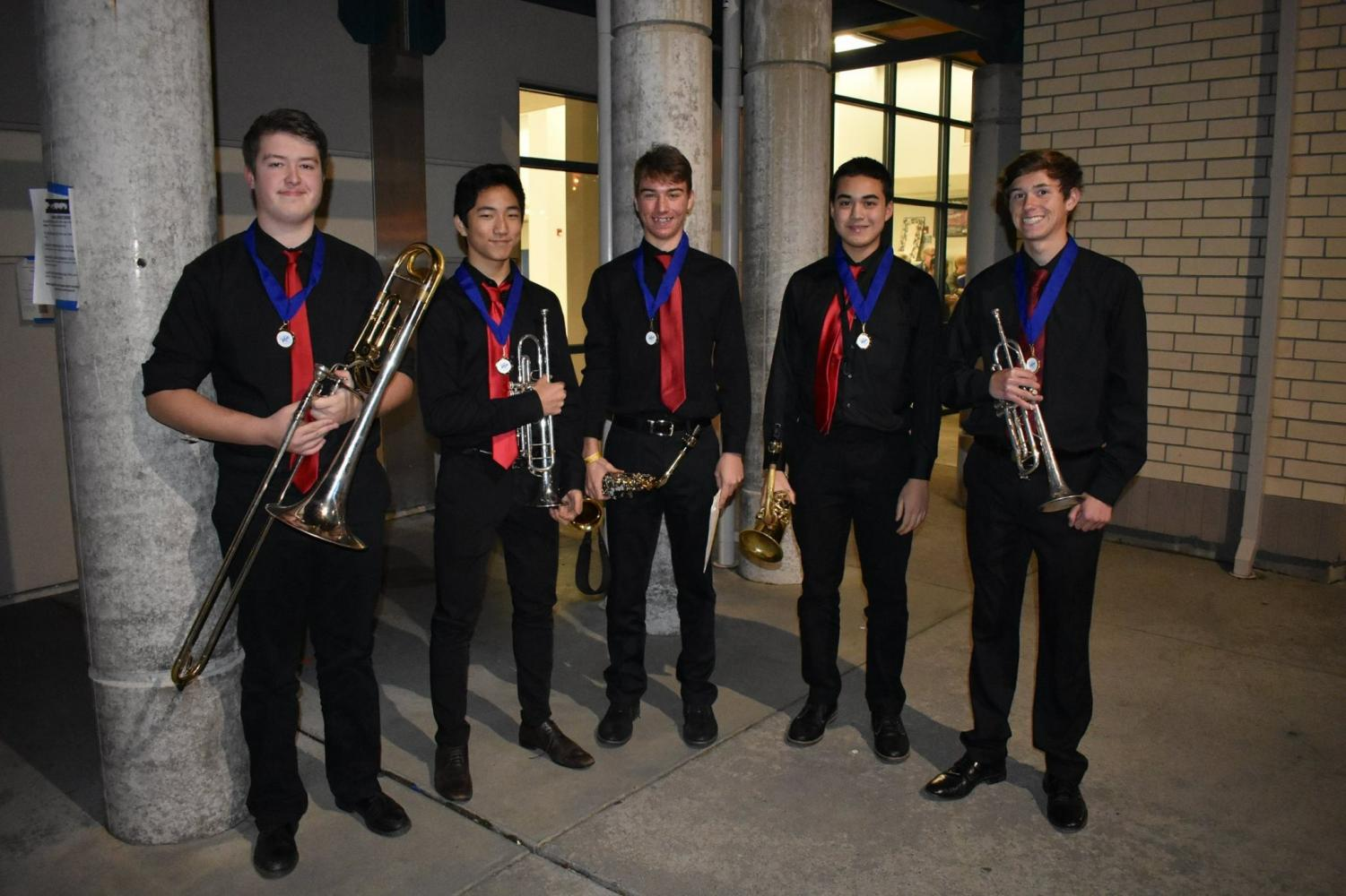 Left to right: Joe Turgeon '19, Donghwan Park '20, Sam Dyer '20, Caelin Sutch '20, and Todd Russell '19 at the annual Folsom Jazz Festival