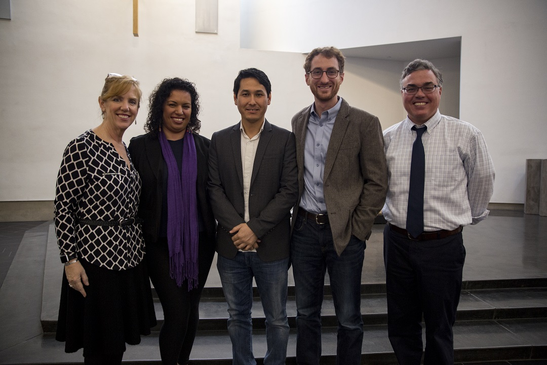 Left to right: Christian Service Director and Campus Minister Ms. Kelly Barnes, DREAMer student Ms. Marisela Hernandez, Afghan  Immigrant Special Visa holder Mr. Jawad Khawari, Immigration Lawyer Mr. Jed Oswald, and Assistant Principle Mr. Tim Caslin.