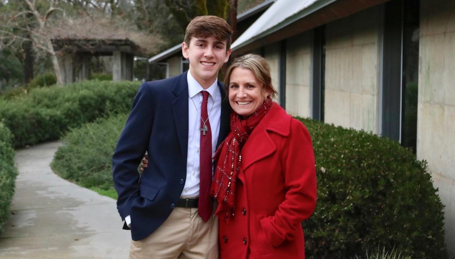 Tyler Smith '18 pictured with Kairos Small Group Leader Ms. Leah Heine. Tyler served a Rector of Kairos 138.