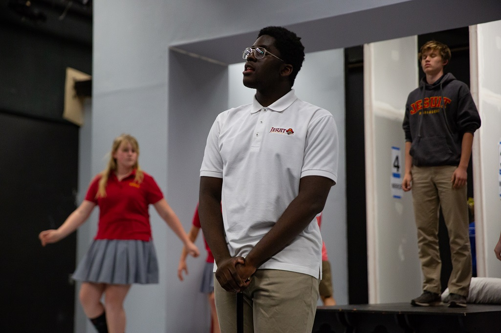 Obinna Okoye '19 during rehearsals for
