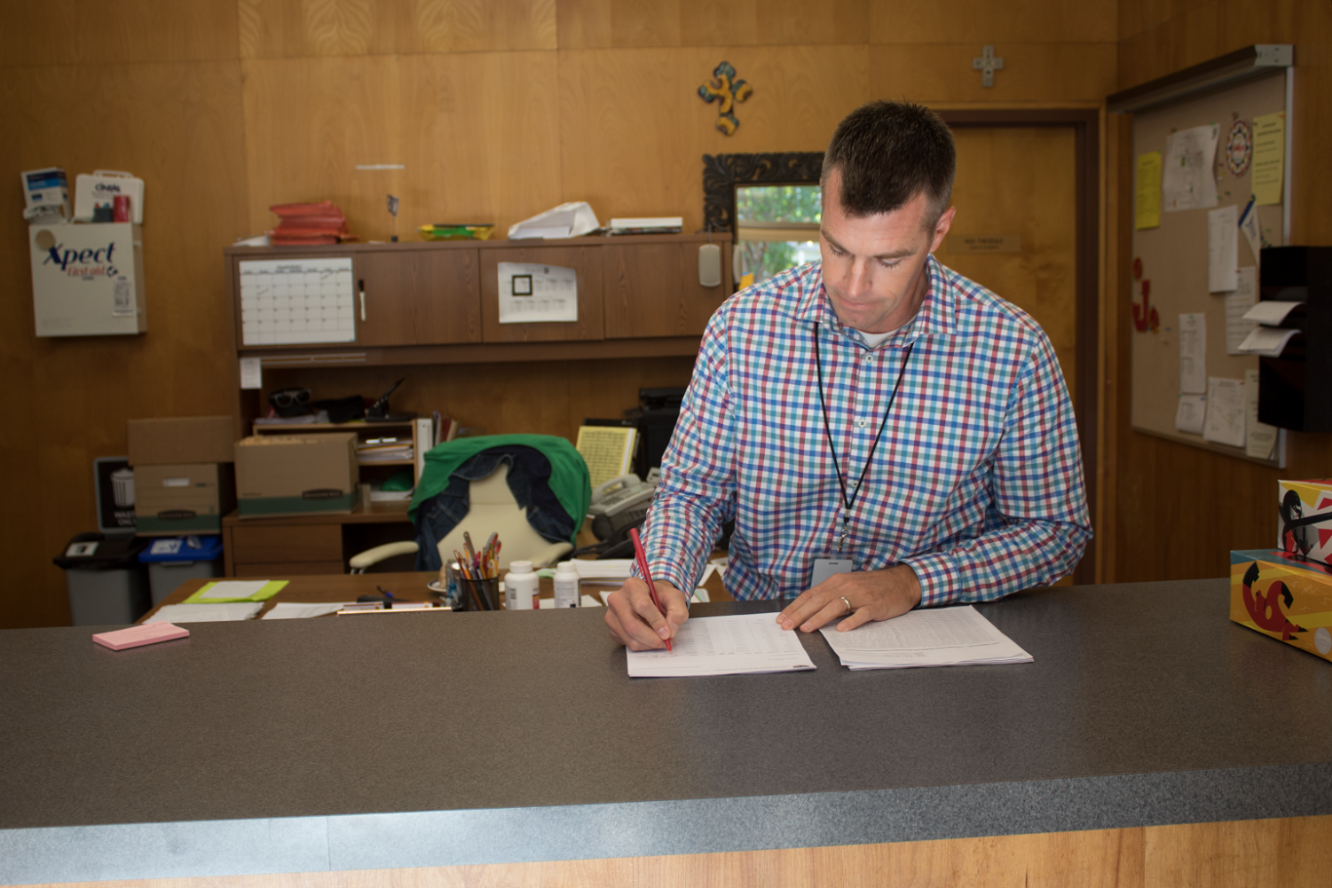 Assistant Dean of Students Mr. Keegan Smith at work in the Dean's Office