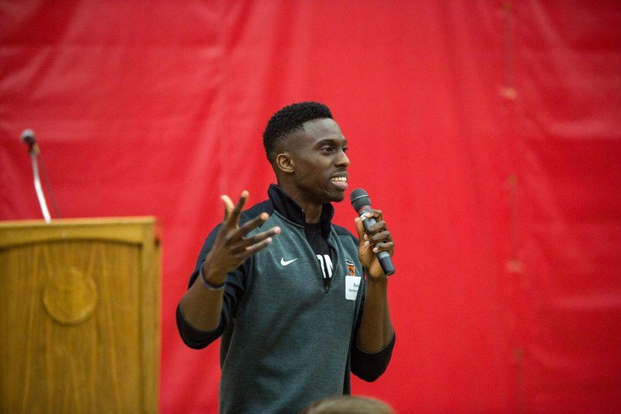 Isaac Serwanga '08, speaks at Alumni Career Day in spring 2018.