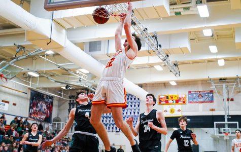 Big man Jack Andre '20 dunks in Jesuit's home basketball game against Ponderosa High School  on Friday, Feb. 21.