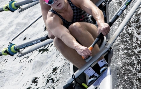 Rower and Jesuit High School student Louis Gallia '20 competing in the 2019 Head of the Charles Regatta in the Charles River, which separates Boston and Cambridge, Massachusetts.