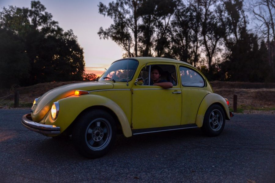 Torin Ducker '20 in his 1973 Volkswagen Super Beetle