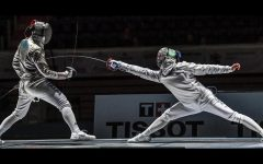 Fencer Dongwhan Park '20, scores a touch at the Fencing World Championships in Poland. Park placed third in Cadet's Men's Sabre.