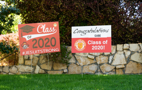 Members of the faculty and staff at Jesuit High School in Sacramento distributed personalized lawn signs to seniors on Thursday, April 30, 2020. The sign pictured belongs to Gabe Neumann '20, who will be  attending the University of Arizona where he will have a managerial position on the baseball team.