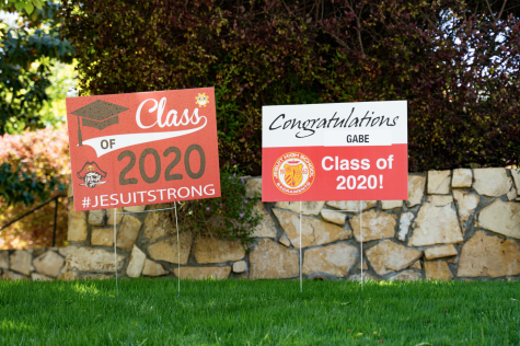Members of the faculty and staff at Jesuit High School in Sacramento distributed personalized lawn signs to seniors on Thursday, April 30, 2020. The sign pictured belongs to Gabe Neumann