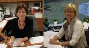 Ms. Eileen Woodward (left) at her desk and Ms. Danise Skewis (right) in her office.