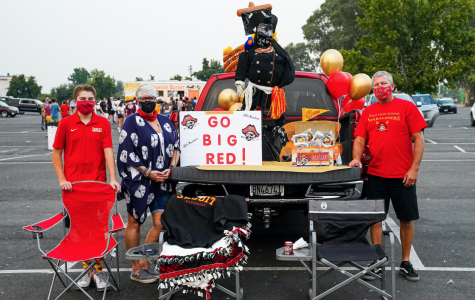 """Jesuit class of 2024 family goes """"BIG"""" with """"Marauder Momentum"""" car decorating contest during the Jesuit hosted movie night at the West Wind Sacramento 6 Drive-In on Wednesday, Sept. 9, 2020, Sacramento, California."""
