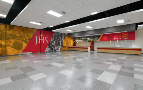 """Jesuit's newly renovated """"Jesuit Sacramento Welcome Center"""" was built to be a space for various student, alumni, and booster events, complete with new graphics and improved lighting. Photo taken on Tuesday, Sept. 16, 2020, at Jesuit High School in Carmichael, California."""
