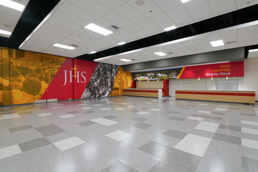 "Jesuit's newly renovated ""Jesuit Sacramento Welcome Center"" was built to be a space for various student, alumni, and booster events, complete with new graphics and improved lighting. Photo taken on Tuesday, Sept. 16, 2020, at Jesuit High School in Carmichael, California."