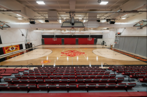 The final phase of the $2.9 million gym renovation included a revamped court paint scheme, new interior paint and graphics, new lights and sound systems, and two sets of new bleachers with seat backs found on the home side. Photo taken on Tuesday, Sept. 16, 2020, at Jesuit High School in Carmichael, California.
