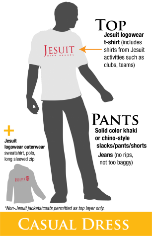 While in distance learning, Jesuit has loosened some of its dress code requirements as students aren't required to wear Jesuit polo shirts. Students can wear any school authorized apparel which includes Jesuit T-shirts and sweatshirts.