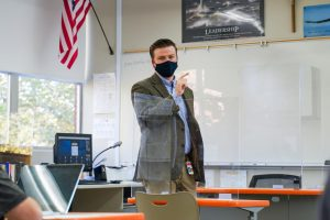 English Teacher Mr. Kyle Trivits teaching his fifth-period class on Tuesday, Nov. 10, 2020, at Jesuit High School in Carmichael, California.