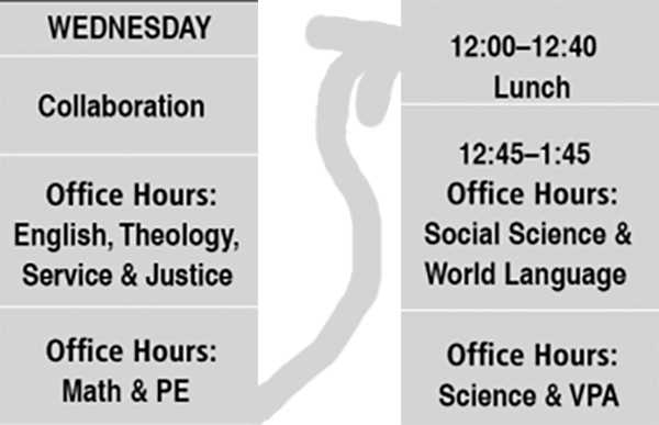 A redesigned photo of Jesuit's Quarter Two On-Campus Hybrid Schedule.