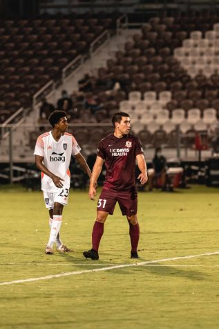 Cameron Iwasa '11, right, during the Sacramento Republic's 2-1 win over Orange County on Sept. 9, 2020.