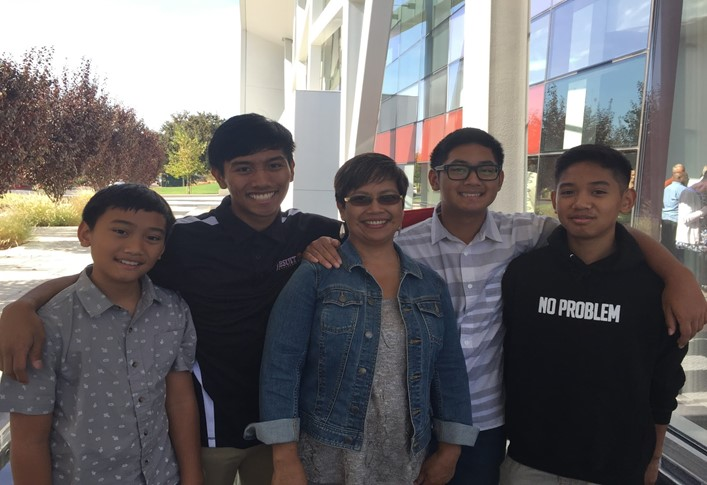Left to right: Andrew Maulino '24, Nathan Maulino '18, their mom, Gabe Maulino '21, and Jacob Maulino '22.