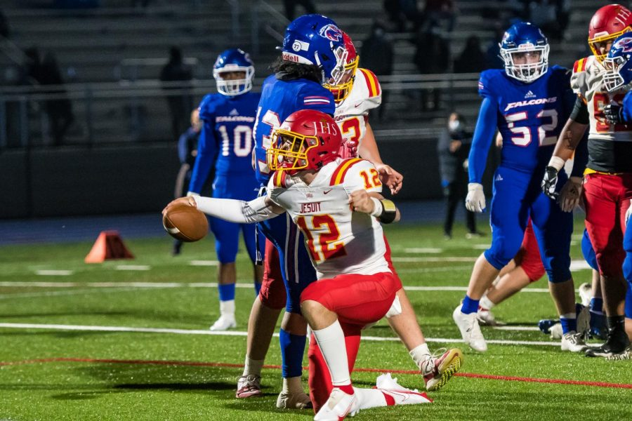 Jesuit quarterback Preston Vukovich '22 after scoring the game-winning touchdown against Christian Brothers on Friday, March 26, 2021.