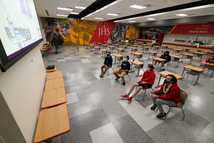 Jesuit High School students enjoy the new additions to flex areas