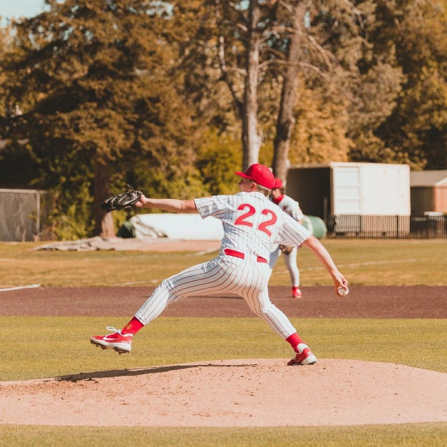 Jesuit pitcher Colton Wuelfing '21 pitching against St. Mary's High School on Saturday, April 9.