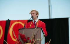 Donovan Jasper 21 gives his Valedictorian Speech during Jesuits graduation at Allworth Financial Stadium on Saturday, May 22, 2021.