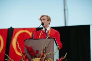 Donovan Jasper '21 gives his Valedictorian Speech during Jesuit's graduation at Allworth Financial Stadium on Saturday, May 22, 2021.