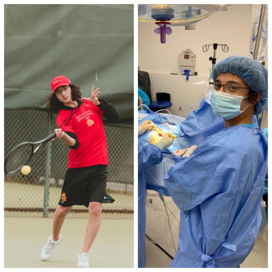 On the left, Alex Chen '21 practices tennis for the Jesuit varsity tennis team in April of 2021. Photo by Damian Brunton '21. On the right, Alex helps on a pacemaker transplant surgery at Koreatown Surgical Clinic in July of 2020. Photo courtesy of Alex.